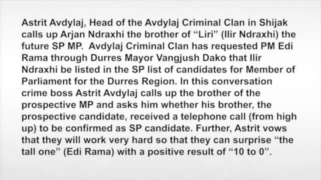 Bild - Korrupsioni ne Shqiperi - Bosi i mafias telefonon  vëllain e kandidatit socialist Ilir Ndraxh